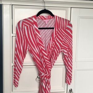 Lilly Pulitzer coral and white stripe maxi dress